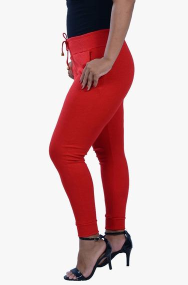 Combo 5 Calça Feminina Cintura Alta Ribana Moletom Canelado