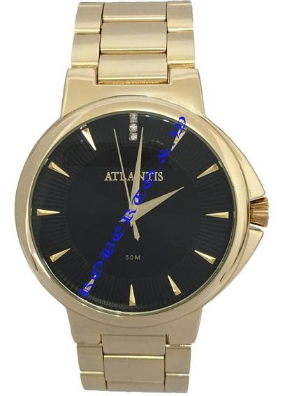 Relógio Feminino Atlantis Original Dourado Com Caixinha