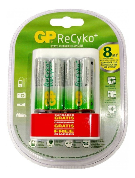 Carregador De Pilhas Inteligente Original Gp Recyko C/ 4 Aa