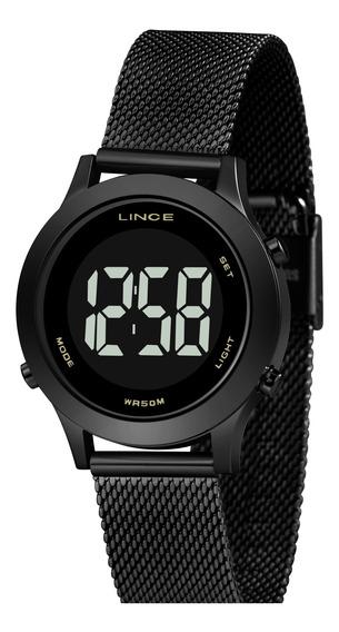 Relógio Lince Sdph112l Pxpx Digital Led Preto Pulseira Aço