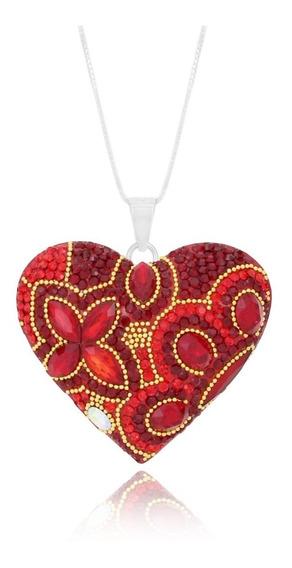 Corazón Destellos ( Collar De Plata, Cristales Y Microperla)