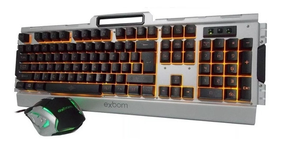 Kit Gamer Teclado Semi Mecanico + Mouse Led Exbom Bkg3000