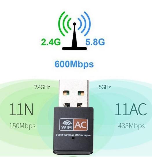 Adaptador Wifi 5g Usb Dual Band Rede Sem Fio 600mb