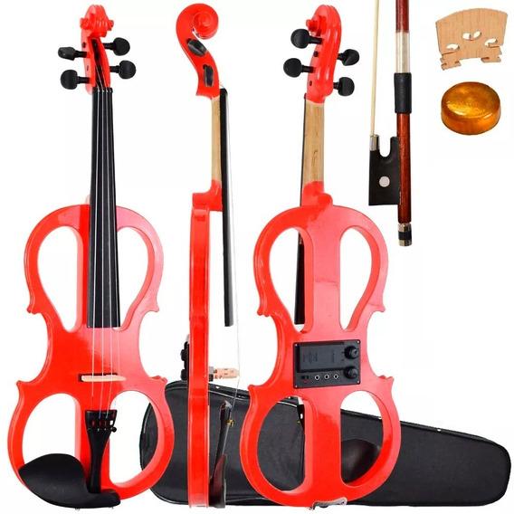 Violino Vazado Elétrico 4/4 Vermelho Sverve Com Estojo Arco