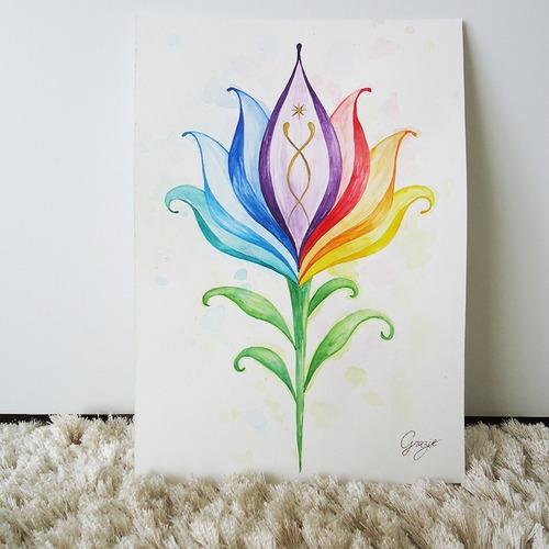 Pintura Em Aquarela Flor Lótus Nas Cores Dos Chakras