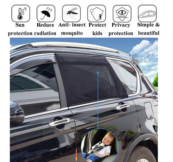 2 Pcs Ajustável Carro Diante/traseira Janela Sun Shades Prot