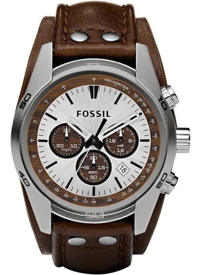 Relógio Fossil Cronógrafo Fch2565z Com Pulseira De Couro