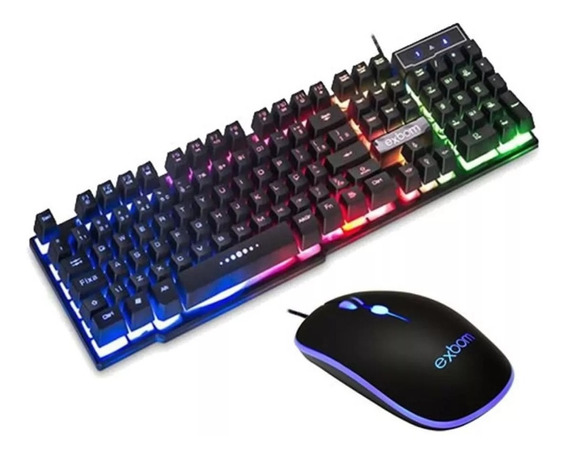 Kit Teclado Mouse Luminoso Semi Mecanico Exbom Bk- G550