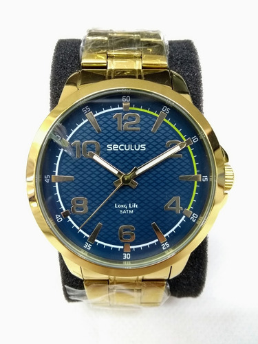 Relógio Masc Seculus 28793gpsvda Vltrine Vidro Trincado Leia