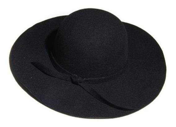 Sombrero Ala Copa Redonda Color Negro De Pana Importado