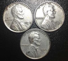 Série Com 3 Moedas Estados Unidos 1 One Cent 1943 Aço