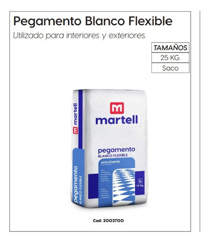 Pegamento Blanco Flexible Martell X25k