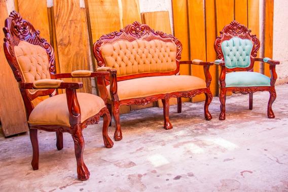 Set Sala Recibidor Victoria 3 Piezas Clasico Luis Xv Vintage