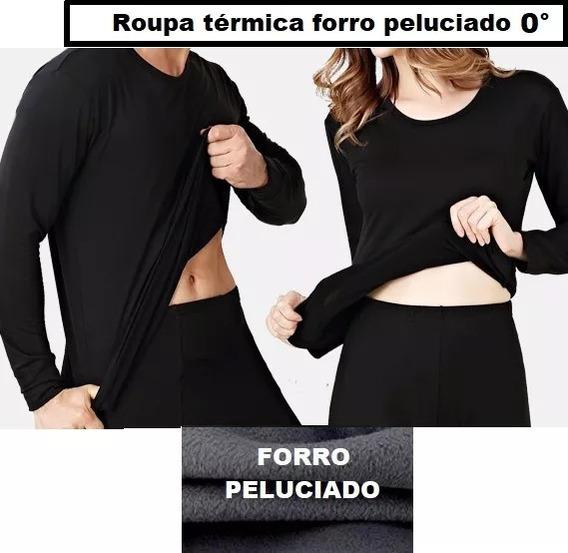 Roupa Térmica Kit 2 Blusa Camisa Peluciada Brinde Meia+luva