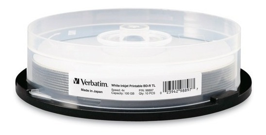 Mídia Blu-ray 4x Printable Verbatim Bd-r 100gb - 01 Unidade