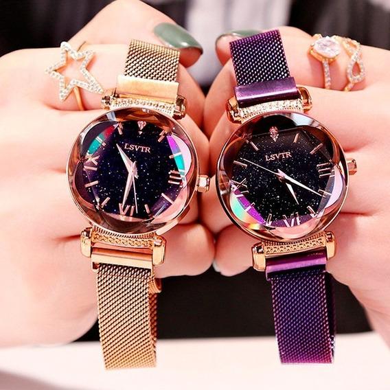 Kit 2 Relógios Feminino Céu Estrelado Magnético + Bracelete
