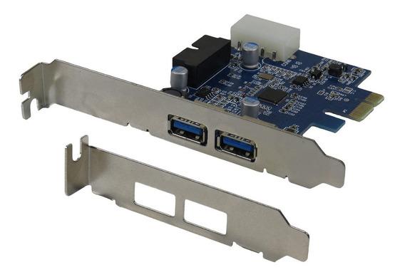 Placa Usb Pci-e Pcie X1 2 Portas 3.0 + 19 Pinos Painel + Low