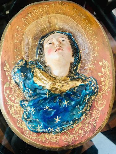 Imagen 1 de 3 de Virgen Tallada Madera Antigua