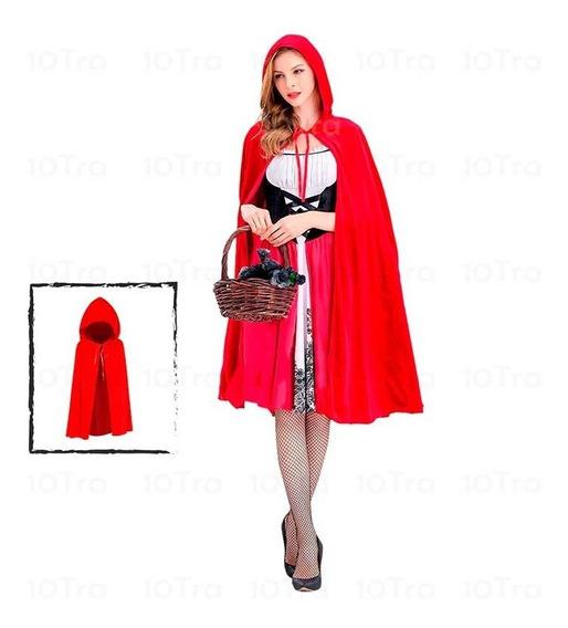 Disfraz Capa Caperucita Premiun Roja Corta 80cm Halloween