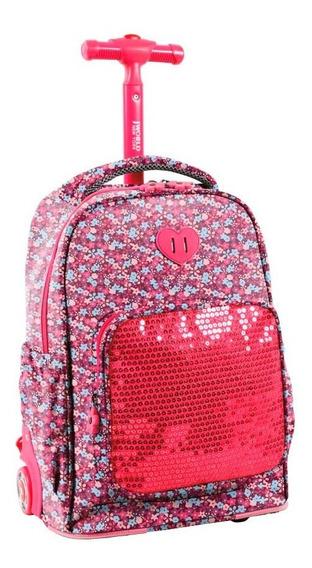Mochila Escolar Con Carro J-world Sparkle (pink Floret)