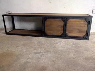 Mesa De Tv Estilo Industrial Vintage Metal/madera 180x35x45