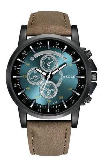 Relógio Masculino Yazole Esportivo Couro Marrom Fundo Preto