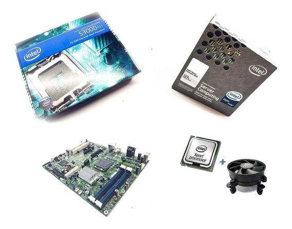 Conjunto Placa Mãe Intel S3000ah+ Processador Xeon 3050