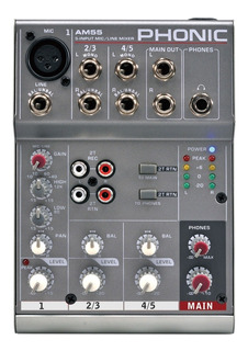 Consola Mixer Phonic Am55 3 Canales 1mic/linea+ 1stereo Eq