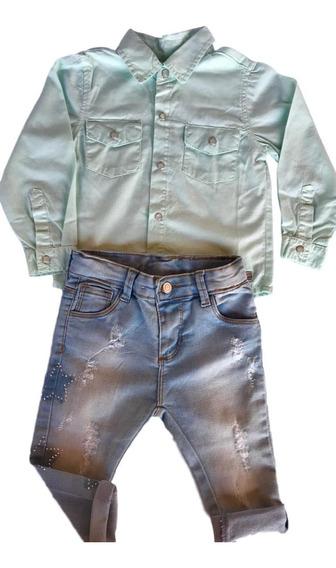 Conjunto Infantil Menina Calça Skinny + Camisa Color
