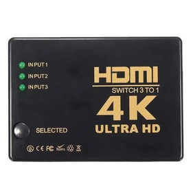 Hub Switch Hdmi 3x1 Ultra Hd 4k 5 Porta Controle Remoto 3d