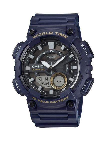 Relógio Masculino Casio World Time Aeq-110w-2avdf Original