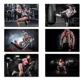 5 Quadros Grande Academia Fitness Malhando Halteres 60x40