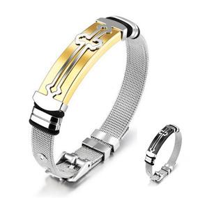 Pulseira Bracelete Cruz Masculina Banhada Ouro 18k Aço Inox