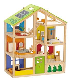 Casa Muñecas En Madera Amoblada Accesorios 6 Habitaciones