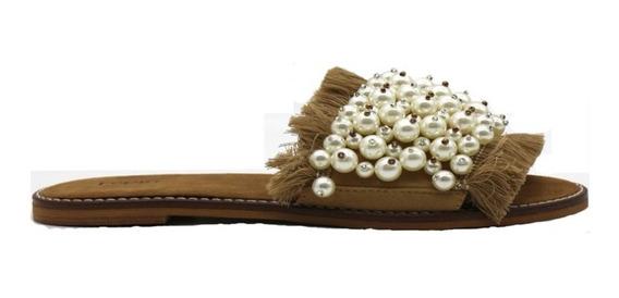 Zapatos Sandalias Bajas Mujer Dama Perlitas Suela Leblu Z143