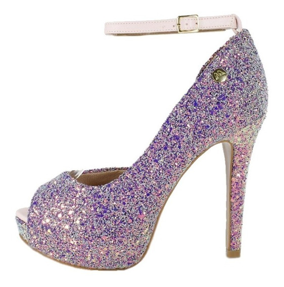 Peep Toe Meia Pata Week Shoes Glitter Furtacor Lilás