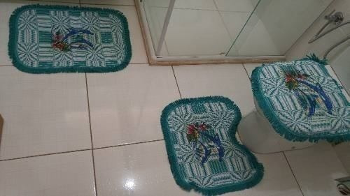 6 Kit Tapete De Banheiro Jogo 3pçs Pintado - Fabritex