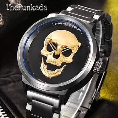 Relógio Pagani Design Skull 3d Gold Unissex Original