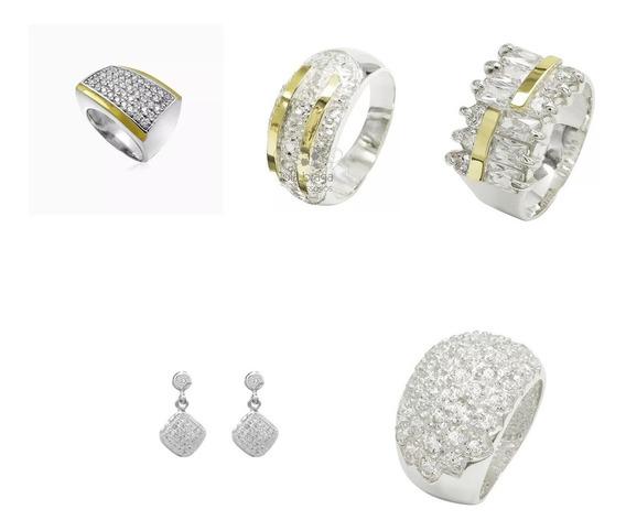 Kit 4 Anéis Femininos Prata 950 E Par De Brincos Com Pedras