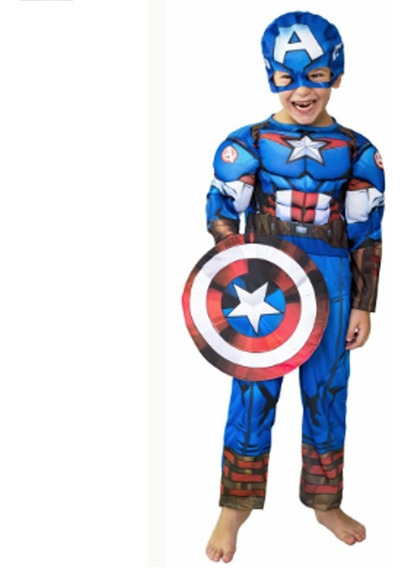 Disfraz De Capitan America Musculoso Talle 2