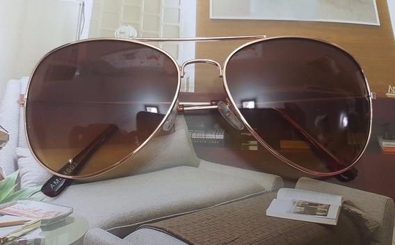 Óculos Sol Modelo Aviador Marrom E Dourado Degrade Unissex
