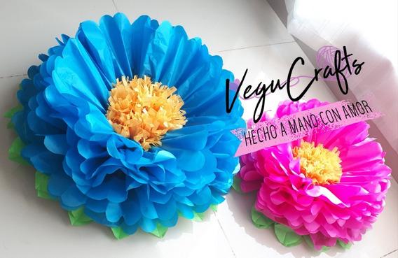 Flores De Papel, Flores Pompon Petalos Y Hojas De 25 Cms