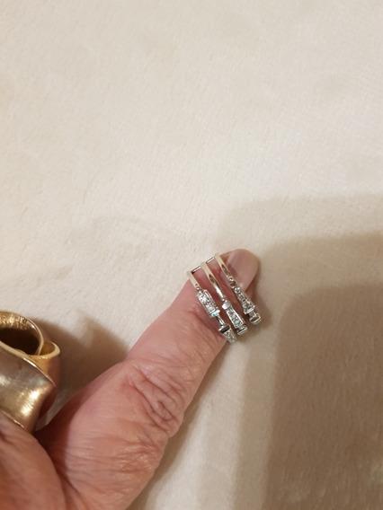 Anel H Stern Ouro Branco Com Brilhantes Medida 15 / 4 Grs