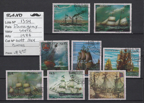 Lote1354 Paraguay Serie Año 1977 Scott# 1764 Barcos