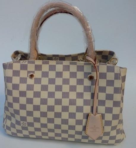 Bolsa Lous Vuitton Montaigne Couro Bege - Pronta Entrega