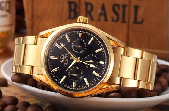 Relógio Chenxi Militar Dourado Charme Elegancia Para Homens
