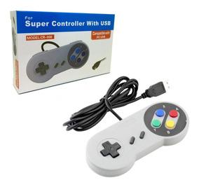 Controle Snes Usb Super Nintendo Pc Notebook Computador