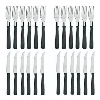 Cubiertos New Kolor 24 Piezas Tenedores Cuchillos Negro