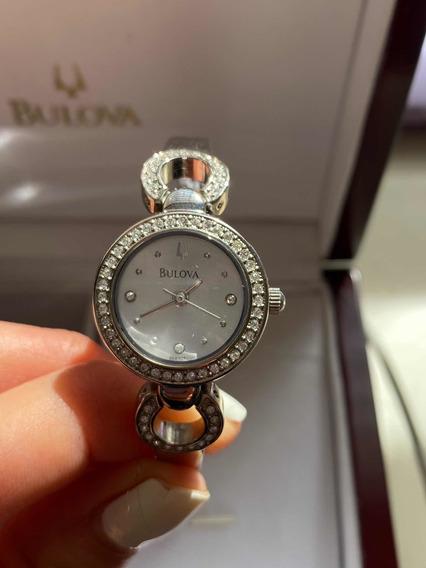 Reloj Bulova Pulsera Plateado Con Crystal Swarovski