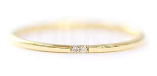 Anel Ouro 18k Solitário Meia Aliança Joia Diamantes